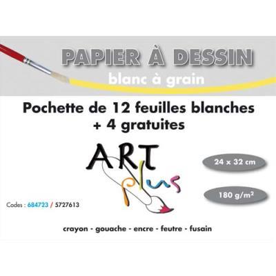 Pochette de 12 feuilles à dessin Artline + 4 gratuites - 180g - 24x32cm (photo)