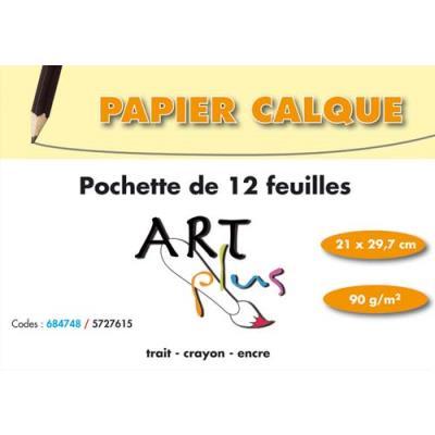 Papier calque A4 90g - pochette de 12 feuilles (photo)