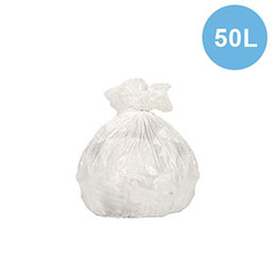 Sacs poubelles - 50 L - blanc  - 24 microns - lot de 500 sacs (photo)