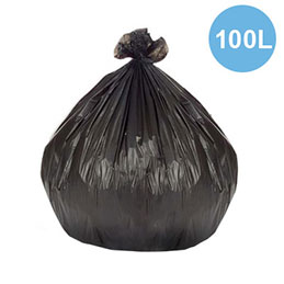 Sacs poubelles fins - 100 L - noir - 21 microns - lot de 500 sacs (photo)