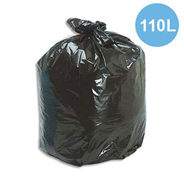 Sacs poubelles multi usages - 110 L - noir - 42 microns - lot de 200 sacs (photo)