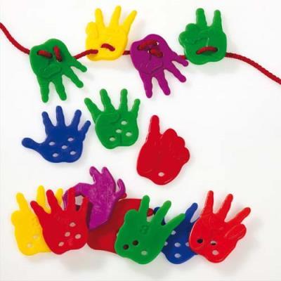 Boîte de 72 mains à lacer L4 x H5 cm, avec 6 lacets coloris assortis (photo)