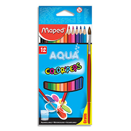 Crayons de couleur aquarellables Maped Color'Peps - boîte de 12 + 1 pinceau offert (photo)