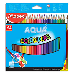 Crayons de couleur aquarellables Maped Color'Peps - boîte de 24 + 1 pinceau offert (photo)