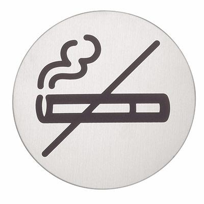 Panneau picto Durable - Non-fumeurs - 83 mm de diamètre - autocollant - acier inoxydable brossé (photo)