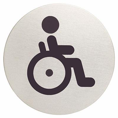 Panneau picto Durable - WC indisponible - 83 mm de diamètre - autocollant - acier inoxydable brossé (photo)