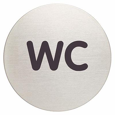 Panneau picto Durable - WC - 83 mm de diamètre - autocollant - acier inoxydable brossé (photo)