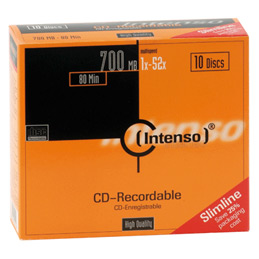 CD-R Intenso Slimcase - 700 Mo - 80 Minutes - paquet de 10 (photo)