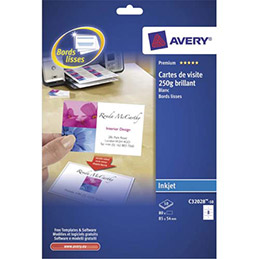 Cartes de visite Avery C32028 - 8,5 x 5,4 cm - 220 g - jet d encre finition brillante - pochette de 80 cartes (photo)