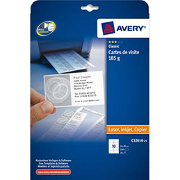 Cartes de visite Avery C32010 - impression laser et jet d'encre finition mate - 8,5 x 5,4 cm - 185g - pochette de 250 (photo)