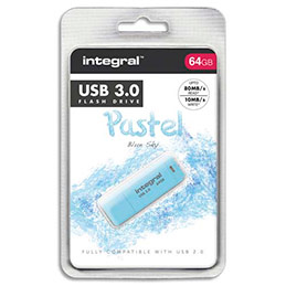 Clé USB 3.0 Integral Pastel Bleue 64Go (photo)