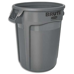 Collecteur mobile rond - 121,1 L - gris (photo)