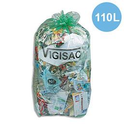 Sacs poubelle vert transparents Vigisac - 110 litres - 38 microns - boite de 250 sacs (photo)