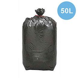 Sacs poubelle noirs qualité NF - 50 litres - 24 microns - boîte de 500 (photo)