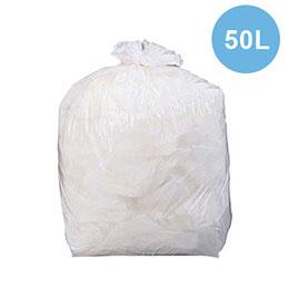 Sacs poubelle blancs qualité NF - 50 Litres - 22 microns - boîte de 500 (photo)