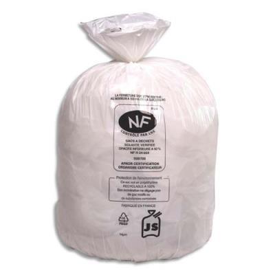 Sacs poubelle blancs qualité NF  - 20 Litres - 18 microns - boîte de 500
