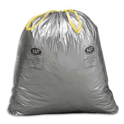 Sacs poubelle à liens coulissants standards - 100 litres - 34 microns - boîte de 100 (photo)