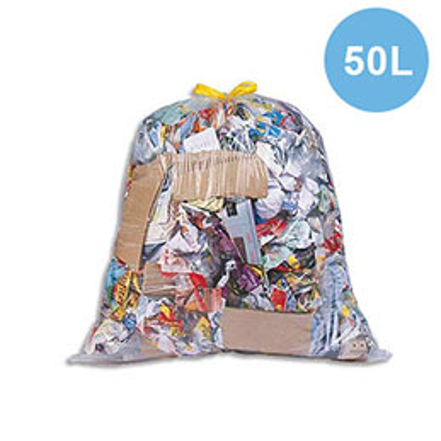 Sacs poubelle à liens coulissants transparents - 50 litres - 20 microns - boîte de 100 (photo)