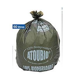 Sacs-poubelle biodégradables Atoubio - 60 litres - 28 microns - carton de 250 (photo)