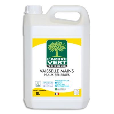 Liquide vaisselle mains peaux sensibles L'Arbre Vert sans allergènes Ecolabel - bidon de 5L (photo)
