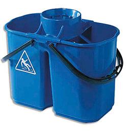 Seau à essorage double bacs eau sale 8L et eau propre 6L - avec essoreur amovible bleu (photo)