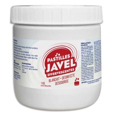 Pastilles javel standards économiques - maxi format 1 Kg - désinfection sols et surfaces - boîte de 300
