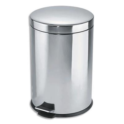 Poubelle à pédale en métal - 20 L - inox (photo)