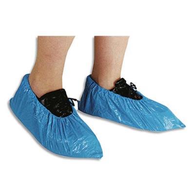 Surchaussures en polyéthylène imperméables avec ourlet cheville - taille unique - bleues - lot de 100