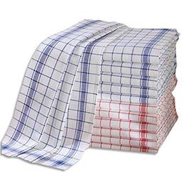 Torchons professionnels Métis 55% lin 45% coton - damier bleu rouge - 70 x 50 cm - lot de 12 (photo)