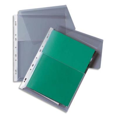 Pochettes-plan perforées 1er prix - PVC 14/100e devant et 17/100e au dos - soufflet 2.5 cm - A4 - sachet de 10