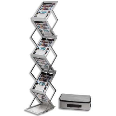 Présentoir sur pied pliable aluminium avec malette de transport 6 niveaux pour format A4