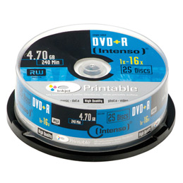 DVD+R 4.7Go Intenso - 16x printable - boitier de 25 (photo)