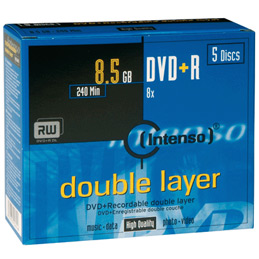 DVD+R Double couche 8.5Go Intenso - 8x JEWEL - paquet de 5 (photo)