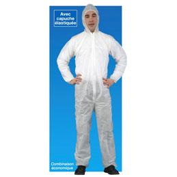 Combinaison à usage court avec capuche en polypropylène non tissé - blanche - taille XL - lot de 5