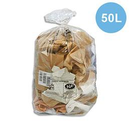 Sacs poubelle transparent qualité NF - 50 litres - 22 microns - boîte de 500 (photo)