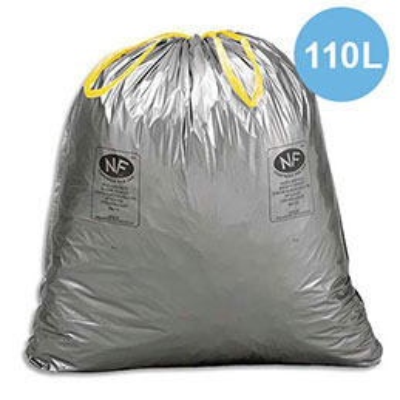 Sacs poubelle à liens coulissants gris - 110 litres - 45 microns - boîte de 200 (photo)