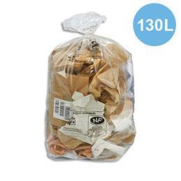 Sacs poubelle transparent qualité NF - 130 litres - 38 microns - boîte de 200 (photo)