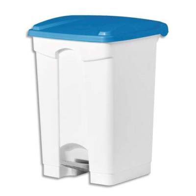 Collecteur à pédale blanc couvercle bleu en polyéthylène - 45 L (photo)