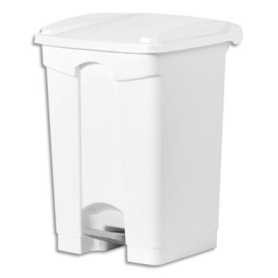 Collecteur à pédale blanc couvercle blanc en polyéthylène - 45 L (photo)