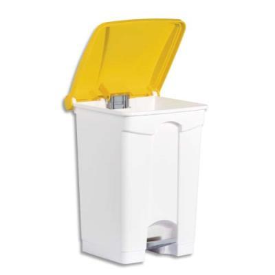 Collecteur à pédale blanc couvercle jaune en polyéthylène - 45 L (photo)