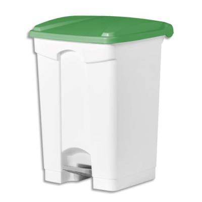 Collecteur à pédale blanc couvercle vert en polyéthylène - 45 L (photo)