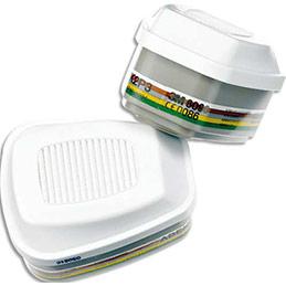 Boîte de 4 Cartouches ABEK2P3 vapeurs organiques, inorganiques, gaz acides, amoniaque… K6099