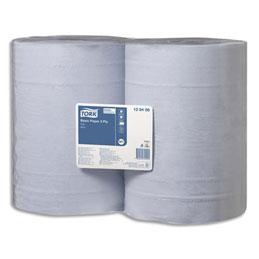 Lot de 2 Bobines d'essuyage Tork Basic 1000 formats - bleues