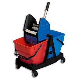 Pack d'entretien Rubbermaid - chariot 2 seaux 18L - presse - frange coton - balai de lavage (photo)