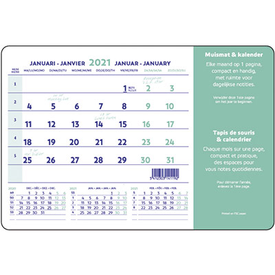 Calendrier 2022 mensuel tapis souris anti-glisse - 14 feuilles - rabat PVC transparent - 23 x 18 cm