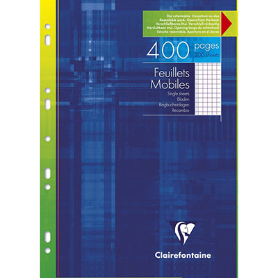Feuilles mobiles Clairefontaine - 5x5 - A4 - 210 x 297 mm blanc 90g/m²  - paquet 200 unités (photo)