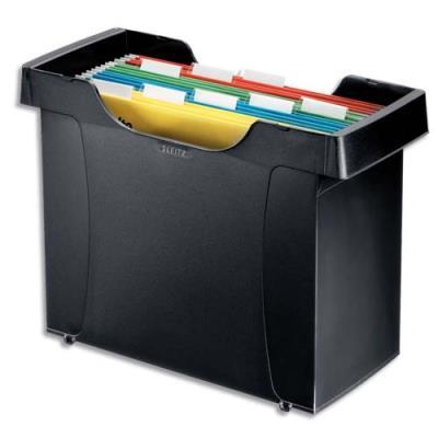 Bac pour dossiers suspendus Leitz Plus - en polystyrène noir - livré avec 5 dossiers bleus (photo)