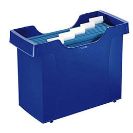 Bac pour dossiers suspendus Leitz Plus - en polystyrène bleu - livré avec 5 dossiers bleus (photo)