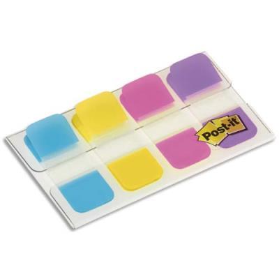 Blister de 40 mini marque-pages rigides Post-It - format 1,58 x 3,8 cm - couleurs vives (photo)