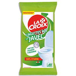 Lingettes WC avec javel - nettoie, blanchit, désodorise - paquet de 40 (photo)